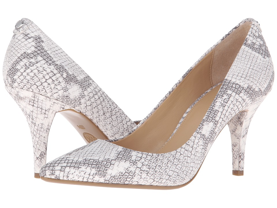 MICHAEL Michael Kors - MK Flex Mid Pump (Natural Buffed Embossed Python) High Heels