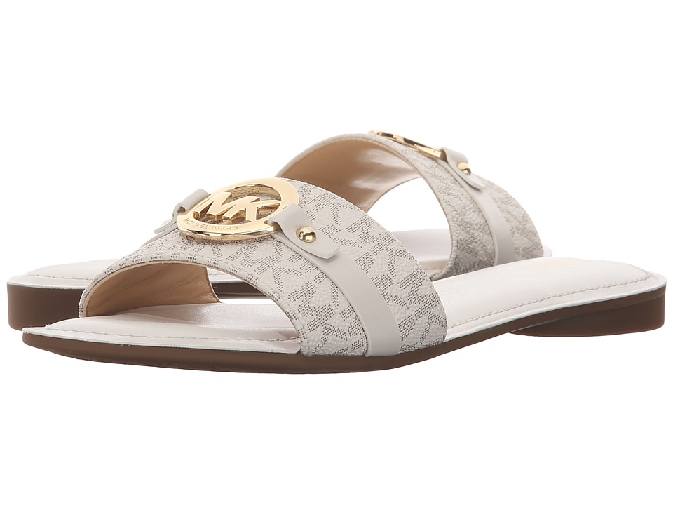 MICHAEL Michael Kors - Molly Slide (Vanilla Mini MK Signature PVC/Vachetta) Women's Shoes