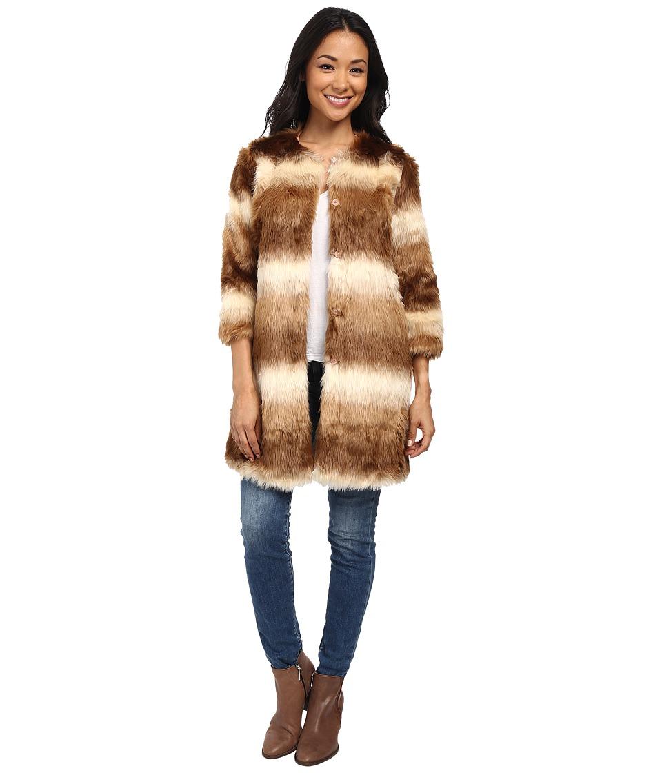 Brigitte Bailey - Evelina 3/4 Sleeve Faux Fur Coat (Camel/Cream) Women's Coat