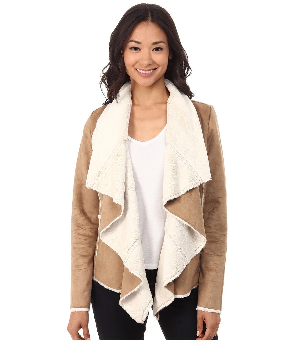 Brigitte Bailey - Maura Drape Front Suede Coat w/ Faux Fur (Camel/Cream) Women's Coat