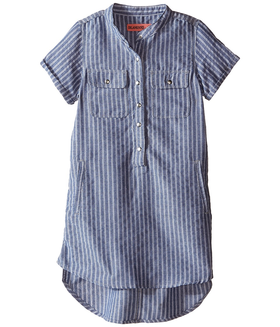 Blank NYC Kids - Pin Stripe Linen Tunic (Big Kids) (Your's Truly) Girl's Short Sleeve Button Up