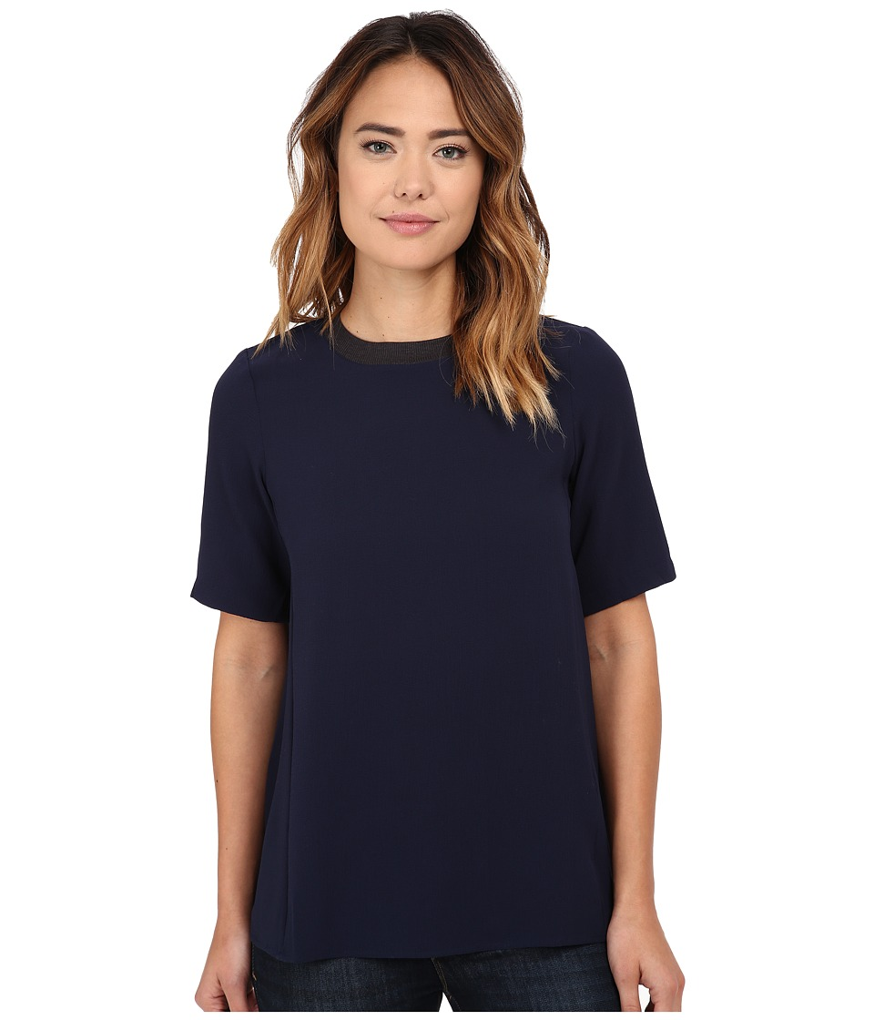 Olive & Oak - Short Sleeve Woven Zip Top (Deep Navy) Women's Blouse