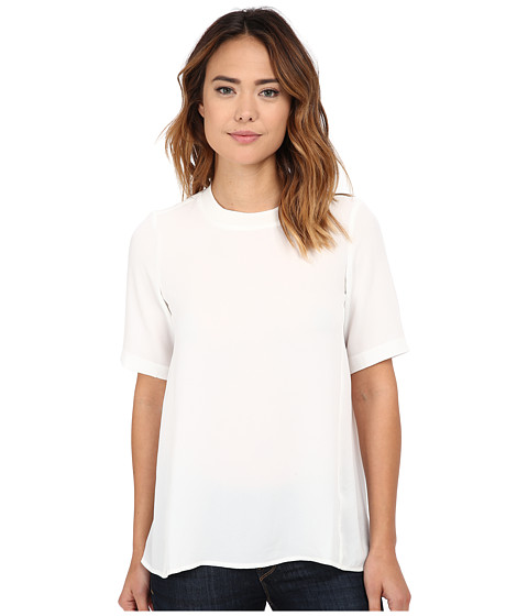 Olive & Oak - Short Sleeve Woven Zip Top (Porcelain) Women