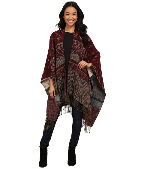 Brigitte Bailey - Maureen Reversible Pattern Cape w/ Fringe (Multi) Women