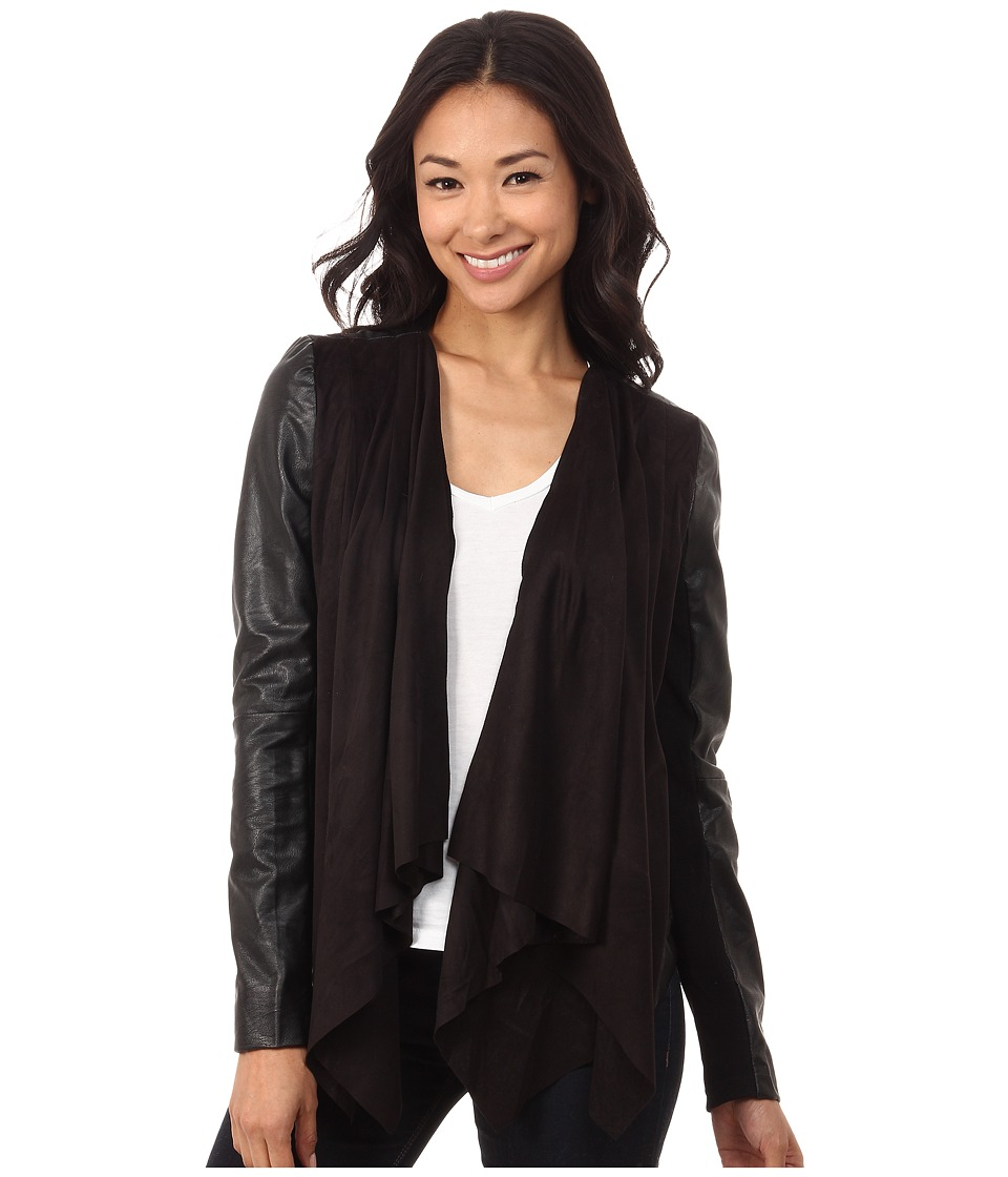 Brigitte Bailey - Alda Drape Front Jacket w/ Faux Leather Arms (Black) Women's Coat