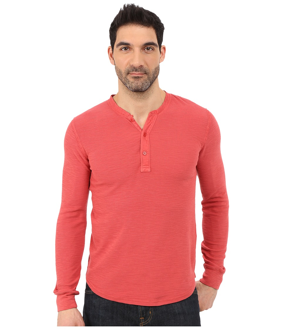 Lucky Brand - Long Sleeve Waffle Henley (Red) Men's Long Sleeve Pullover