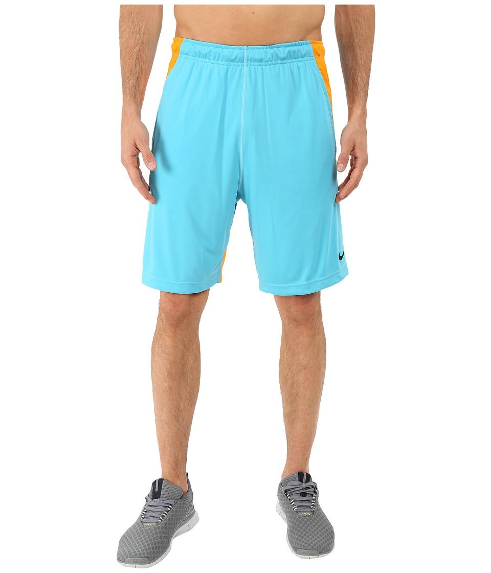 Nike - Fly 9 Shorts (Omega Blue/Vivid Orange/Black) Men's Shorts