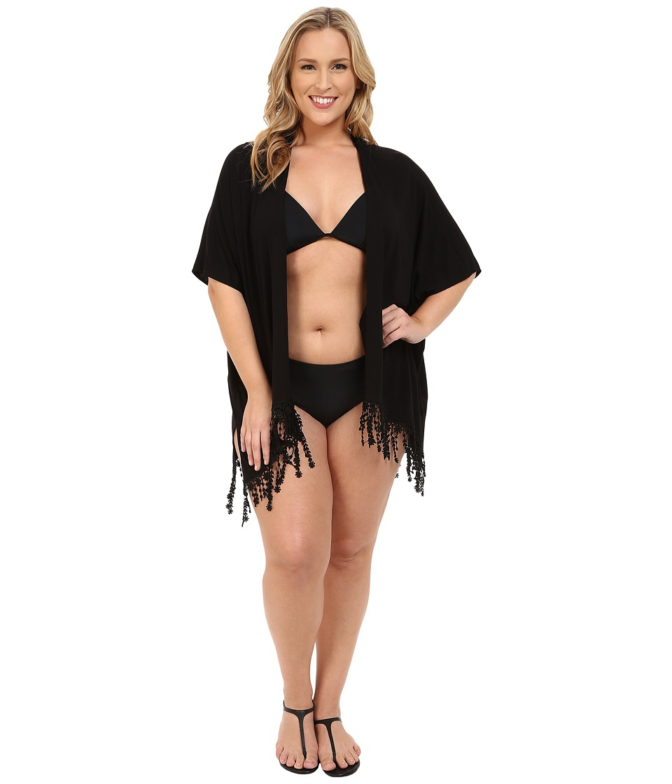 BECCA by Rebecca Virtue - Plus Size Becca ETC Caravan Kimono Cover-Up (Black) Women's Swimwear