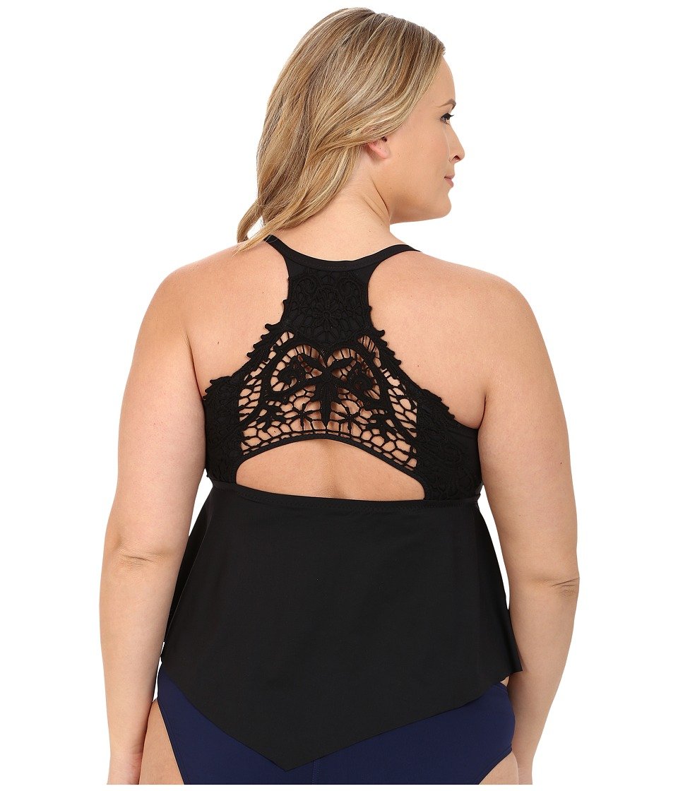 BECCA by Rebecca Virtue - Plus Size Becca ETC Venise Tankini (Black) Women's Swimsuits One Piece
