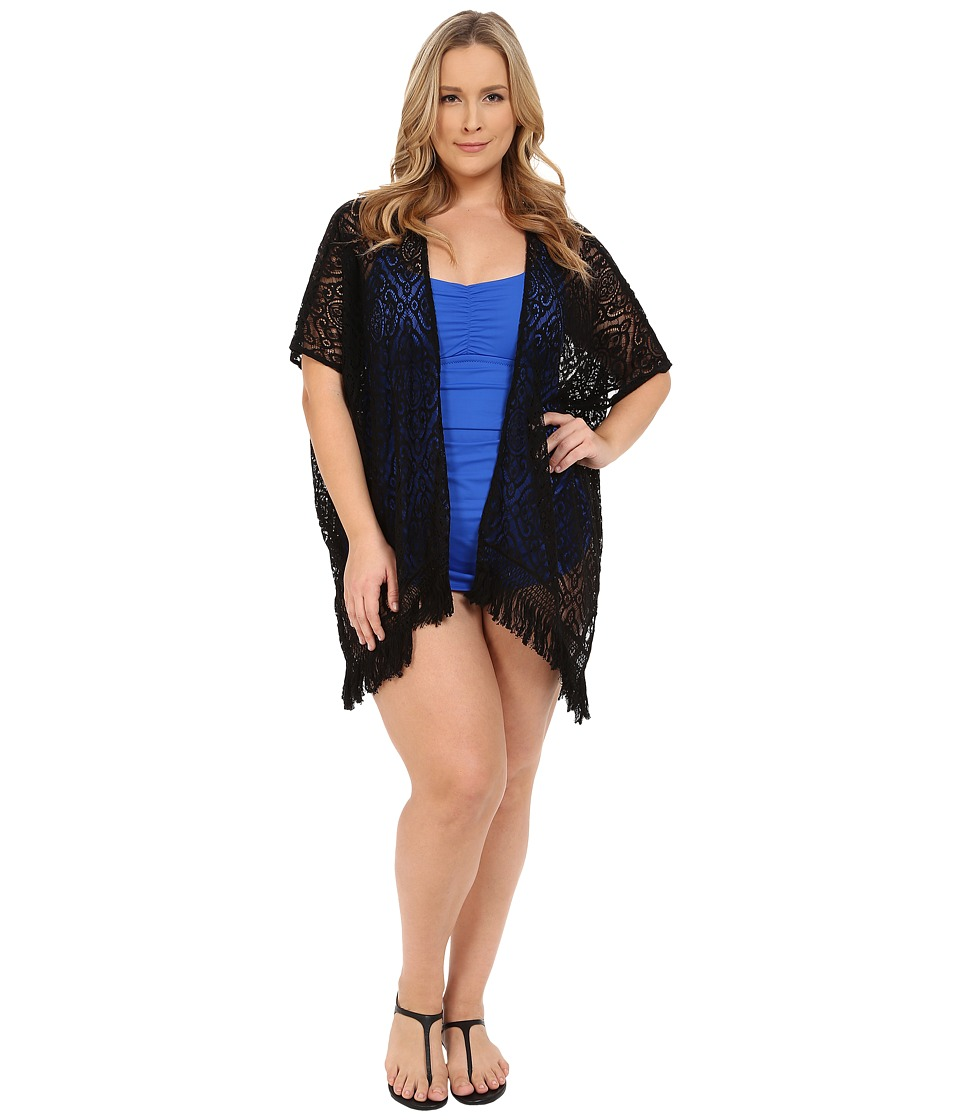 BECCA by Rebecca Virtue - Plus Size Becca ETC Venise Kimono Cover-Up (Black) Women's Swimwear