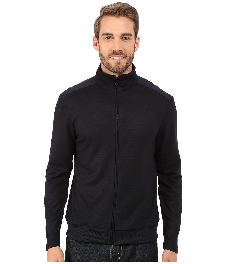 Kenneth Cole Sportswear - Long Sleeve Full Zip Mock (Dark Ocean) Men's Sweater