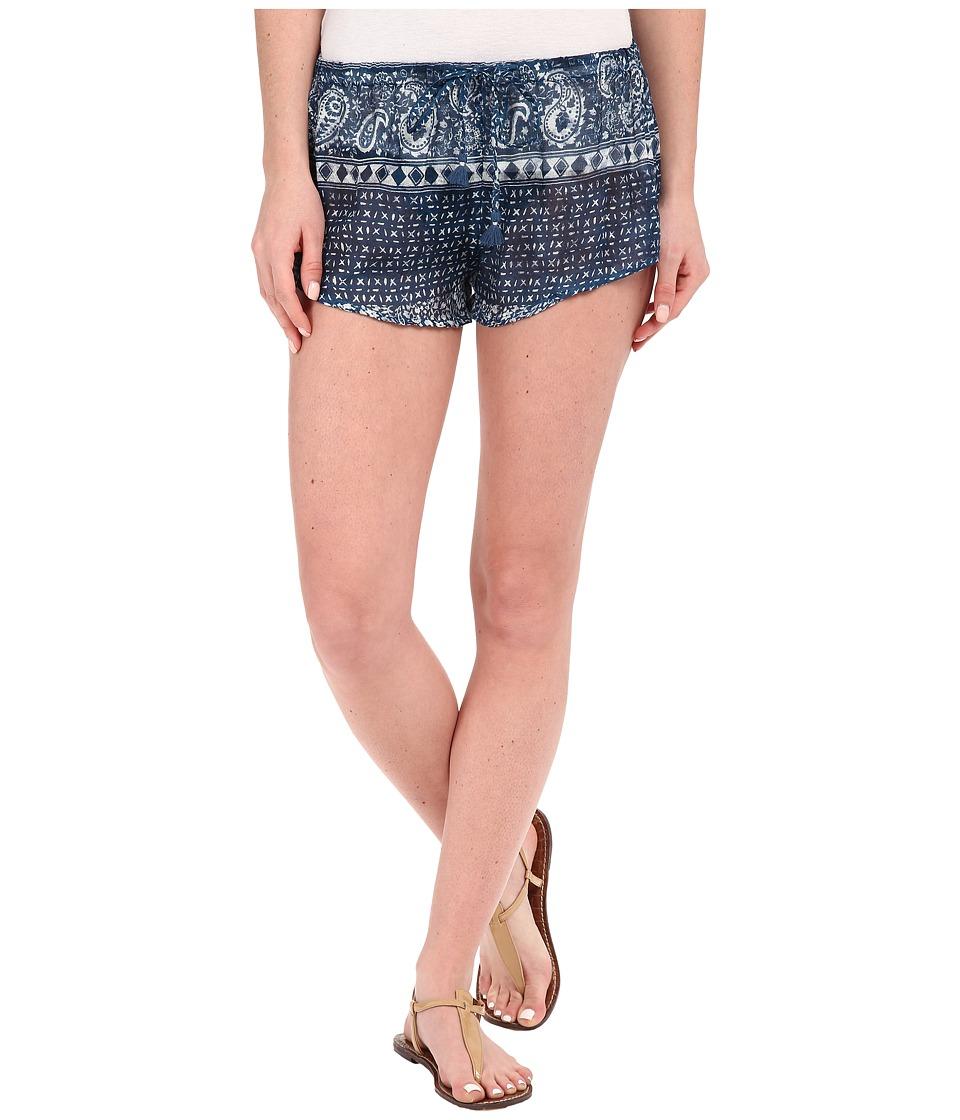 Amuse Society - Alva Printed Gauze Shorts (Indy Blue) Women's Shorts