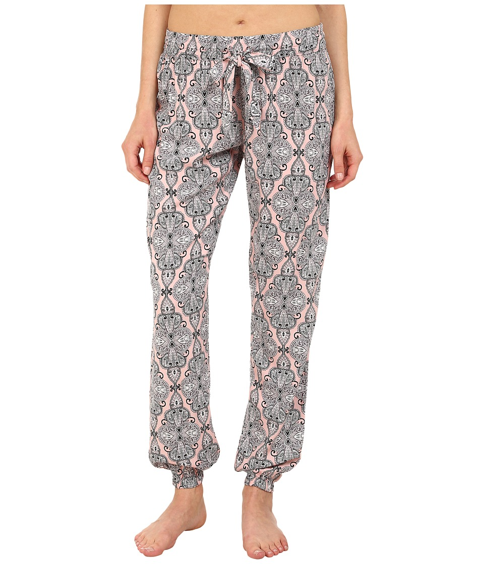 P.J. Salvage - Black N Blush Print Banded Bottom Pants (Blush) Women