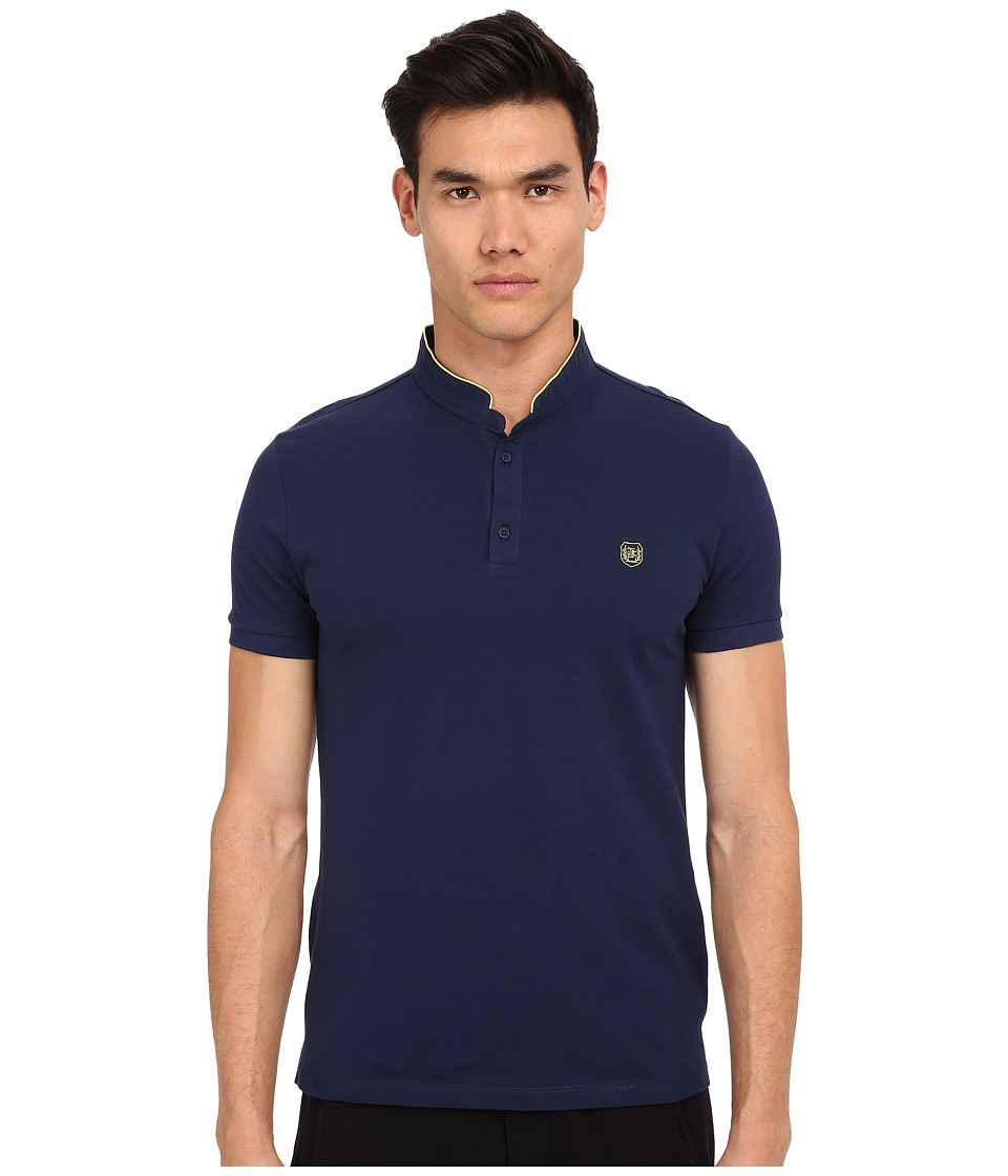 The Kooples - Sport Shiny Pique Polo (Blue-A5) Men's Short Sleeve Pullover