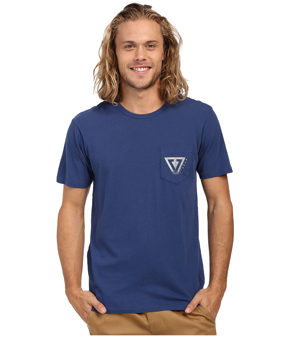 VISSLA - Established Vintage Wash Pocket Tee (Light Navy) Men's Short Sleeve Pullover