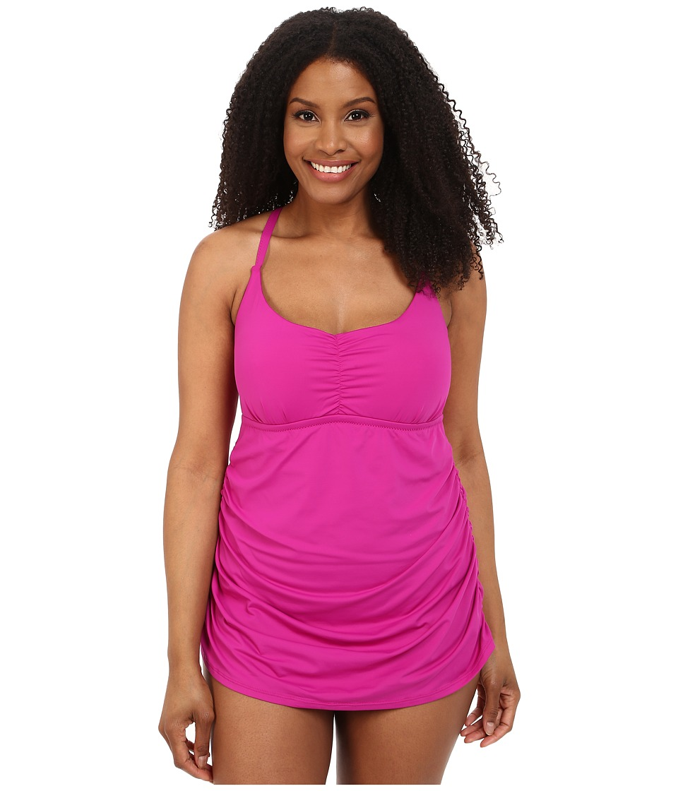 BECCA by Rebecca Virtue - Plus Size Becca ETC Janis Skirted One-Piece (Fuchsia) Women's Swimsuits One Piece