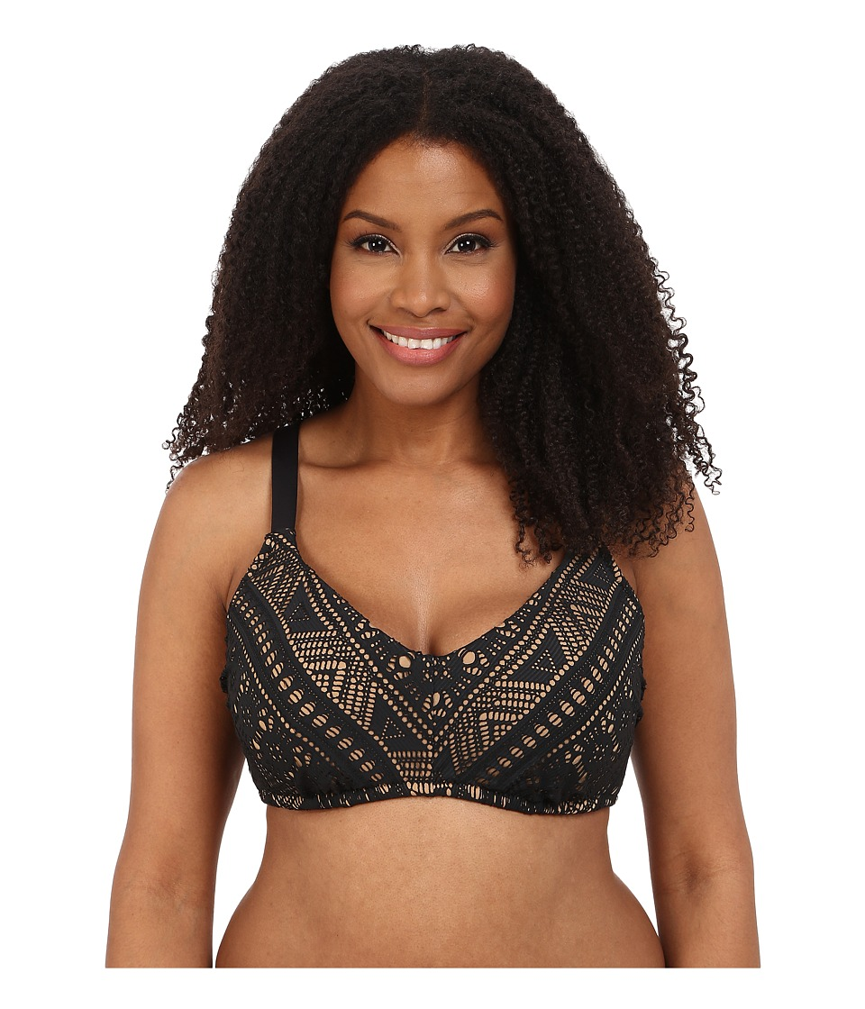 BECCA by Rebecca Virtue - Plus Size Becca ETC La Boheme Bralette (Black) Women's Swimwear plus size,  plus size fashion plus size appare