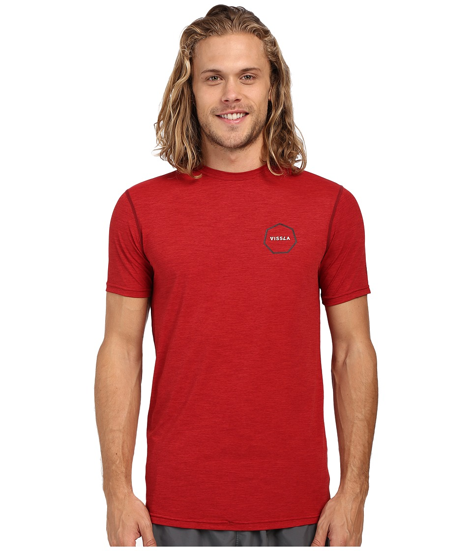 VISSLA - Alltime Short Sleeve Heathered Surf Tee UPF 50 (Blood Heather) Men's Short Sleeve Pullover