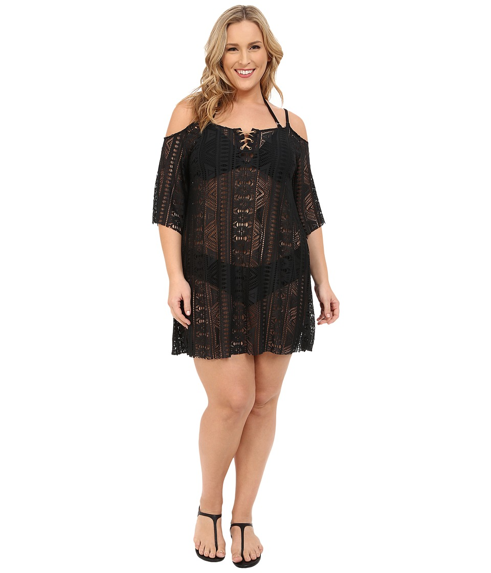 BECCA by Rebecca Virtue - Plus Size Becca ETC La Boheme Tunic Cover-Up (Black) Women's Swimwear