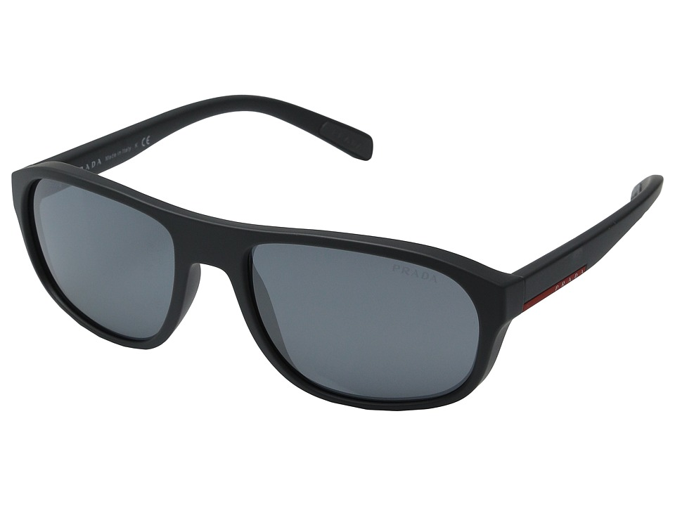 Prada Linea Rossa - 0PS 01RS (Grey Rubber/Light Grey Mirror Black) Fashion Sunglasses