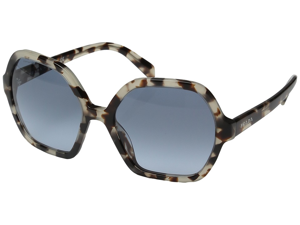 Prada - 0PR 06SS (Spotted Opal Brown/Green Gradient Grey) Fashion Sunglasses