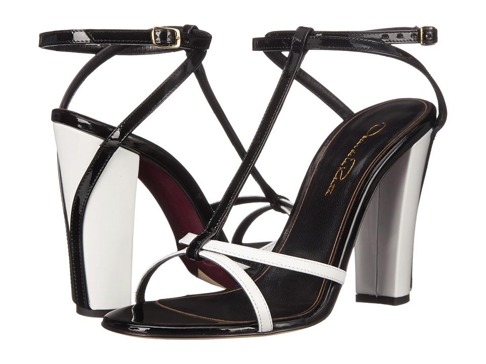 Oscar de la Renta - Lilia 100mm (White/Black Patent Leather) Women's Toe Open Shoes