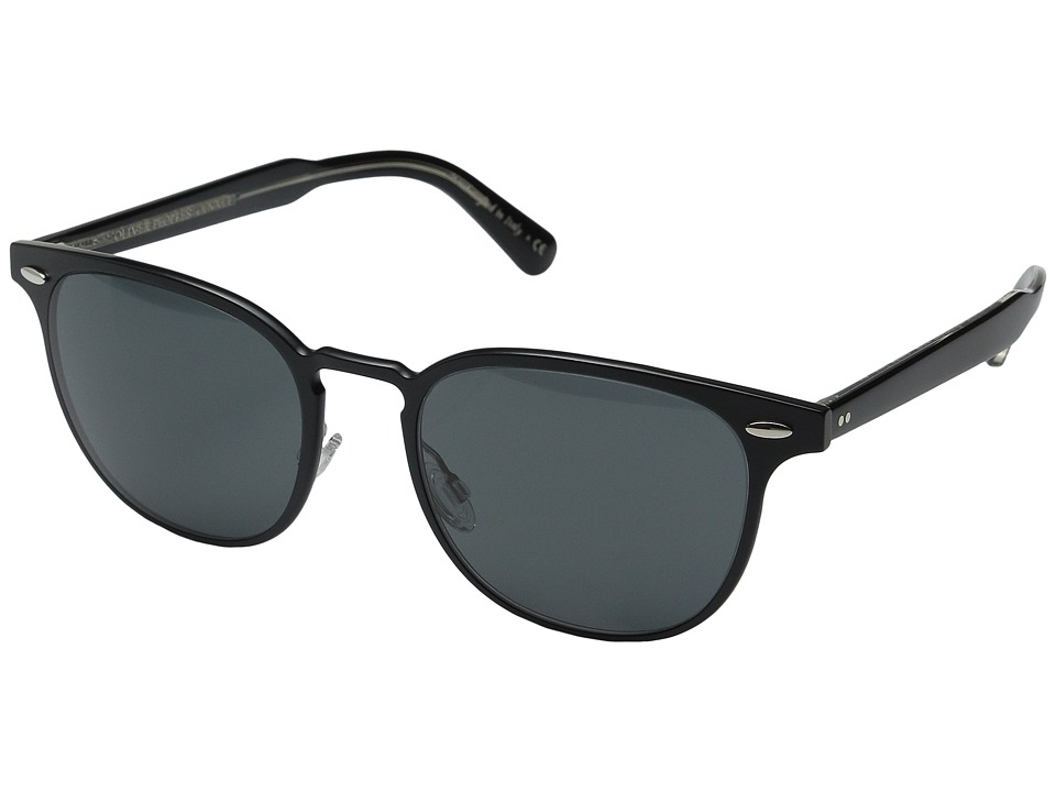 Oliver Peoples - Sheldrake Metal (Brushed Black/Black Crystal/Grey) Fashion Sunglasses
