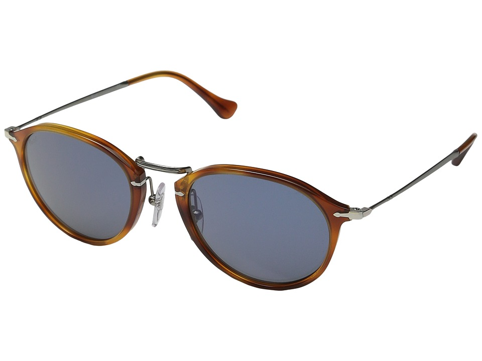Persol - 0PO3046S (Havana/Gunmetal/Light Blue) Fashion Sunglasses