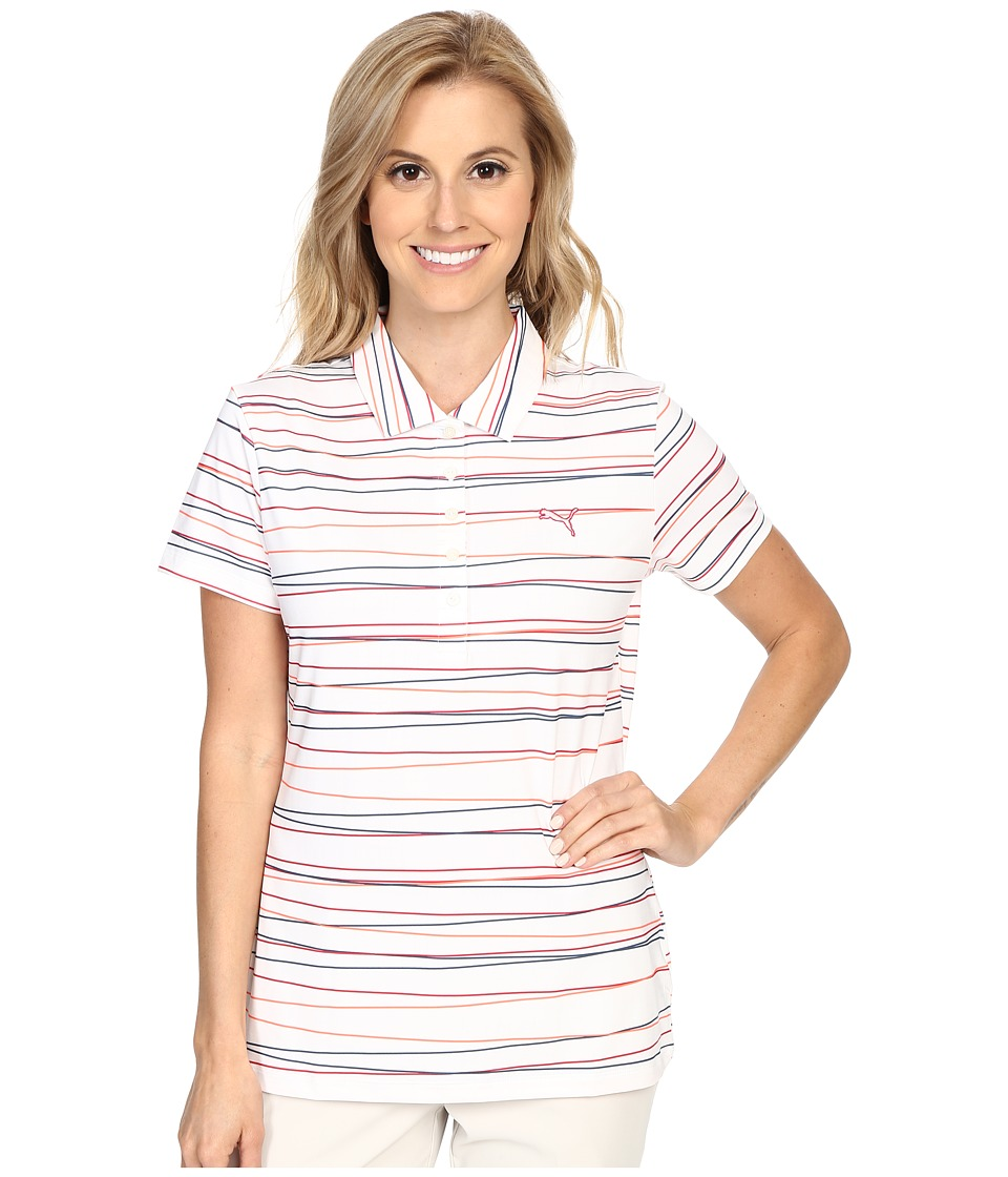 PUMA Golf - Road Map Stripe Polo (Rose Red) Women's Clothing