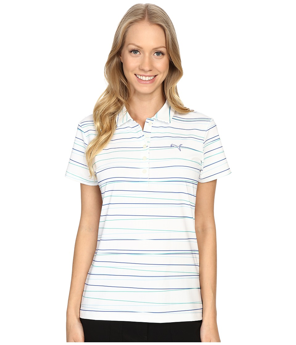 PUMA Golf - Road Map Stripe Polo (Dazzling Blue) Women's Clothing