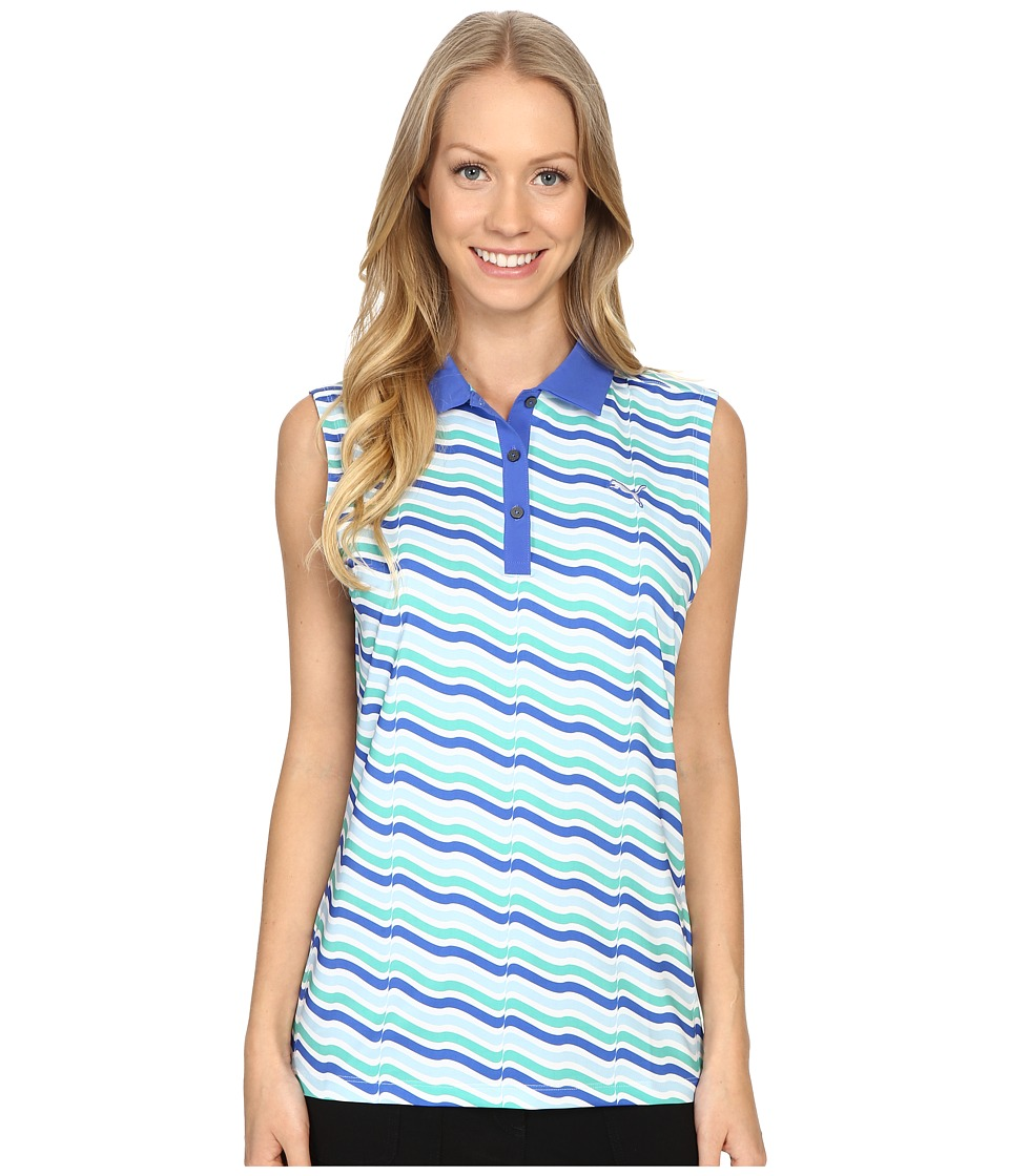 PUMA Golf - Wave Sleeveless Polo (Dazzling Blue) Women's Clothing