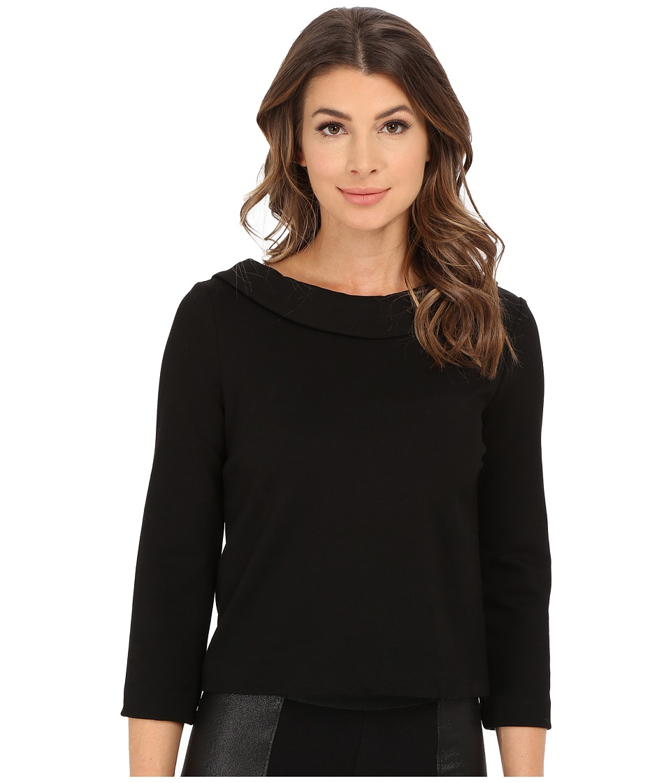 Three Dots Jasmine Top (Black) Women's Clothing