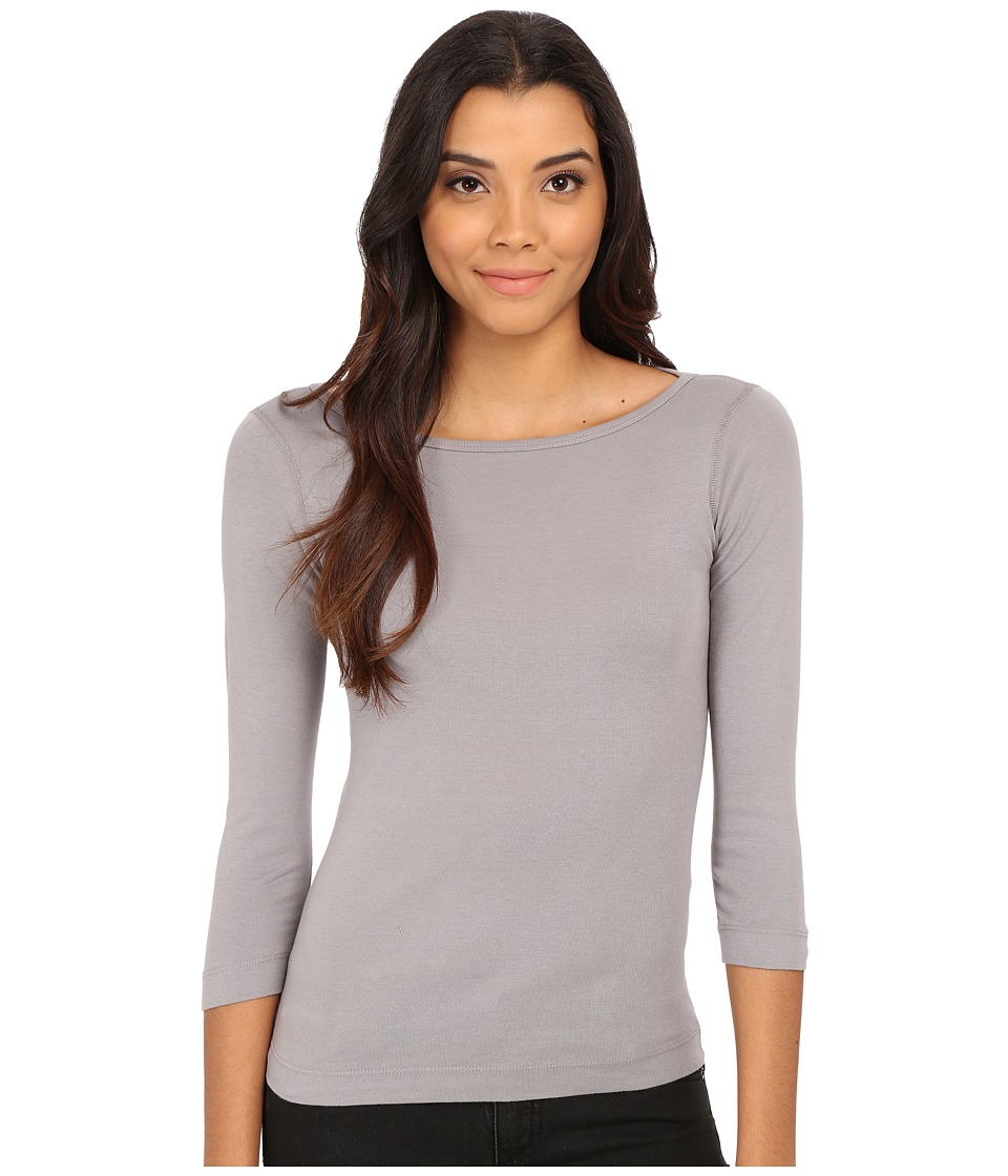 Three Dots - 3/4 Sleeve British Tee (Rich Silver) Women's Long Sleeve Pullover