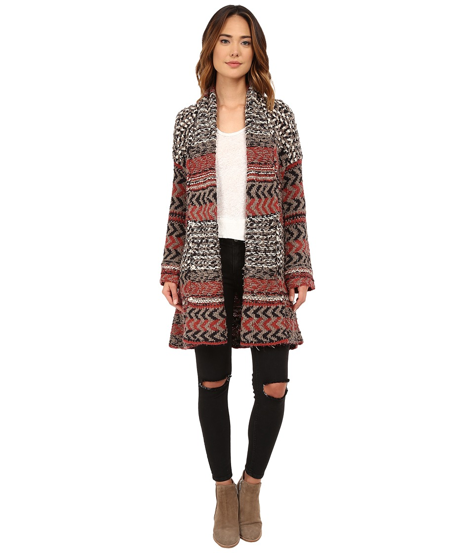 Free People - Iona Pattern Wrap Cardi (Charcoal Combo) Women's Sweater