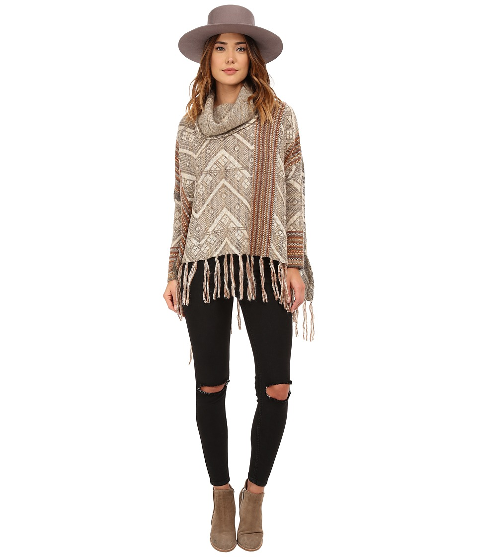 Free People - Be the One Pattern Poncho (Sunset Combo) Women's Sweater