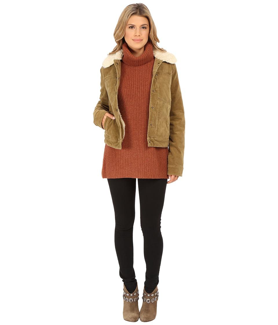 Free People - Cord Sherpa Jacket (Caramel) Women's Coat