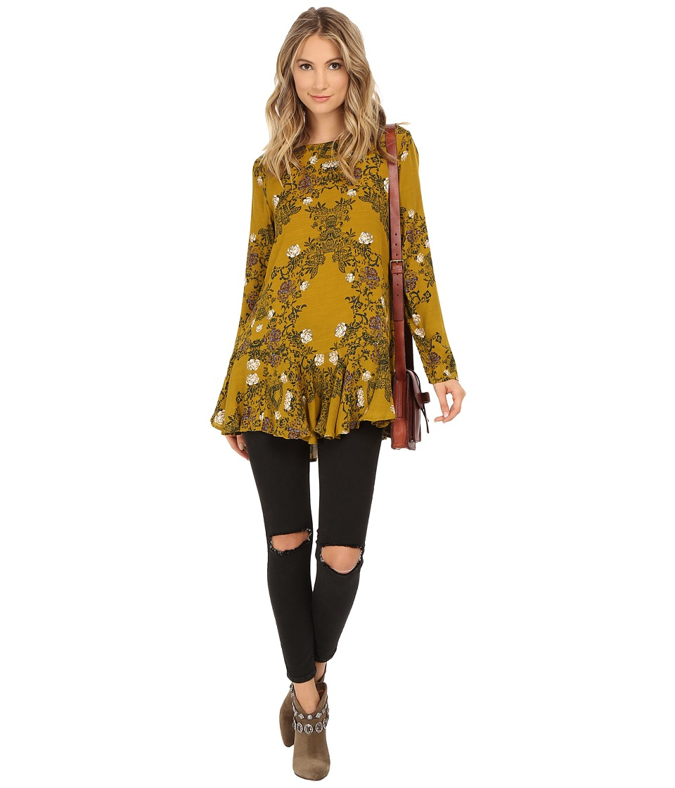 Free People - Slubby Crinkle Smooth Talker Top (Gold Combo) Women's Clothing