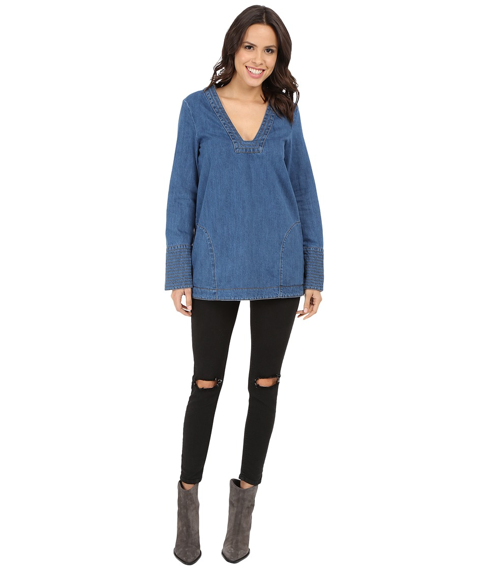 Free People - Dreaming of Denim Tunic (Hendrix Blue) Women's Long Sleeve Pullover