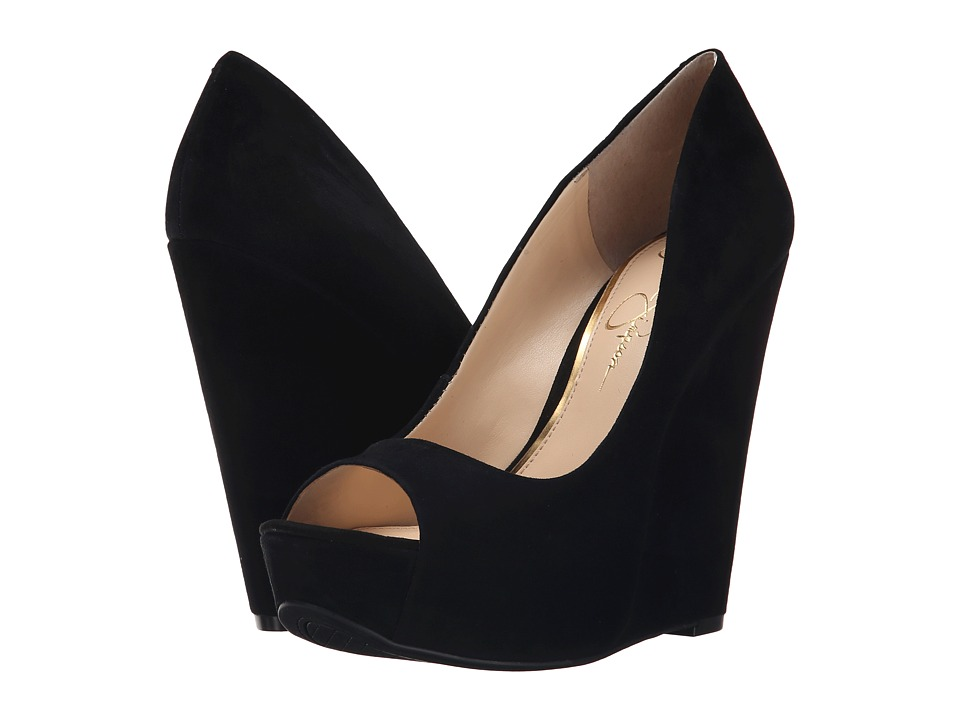 Jessica Simpson - Bethani (Black Luxe Kid Suede) Women's Wedge Shoes