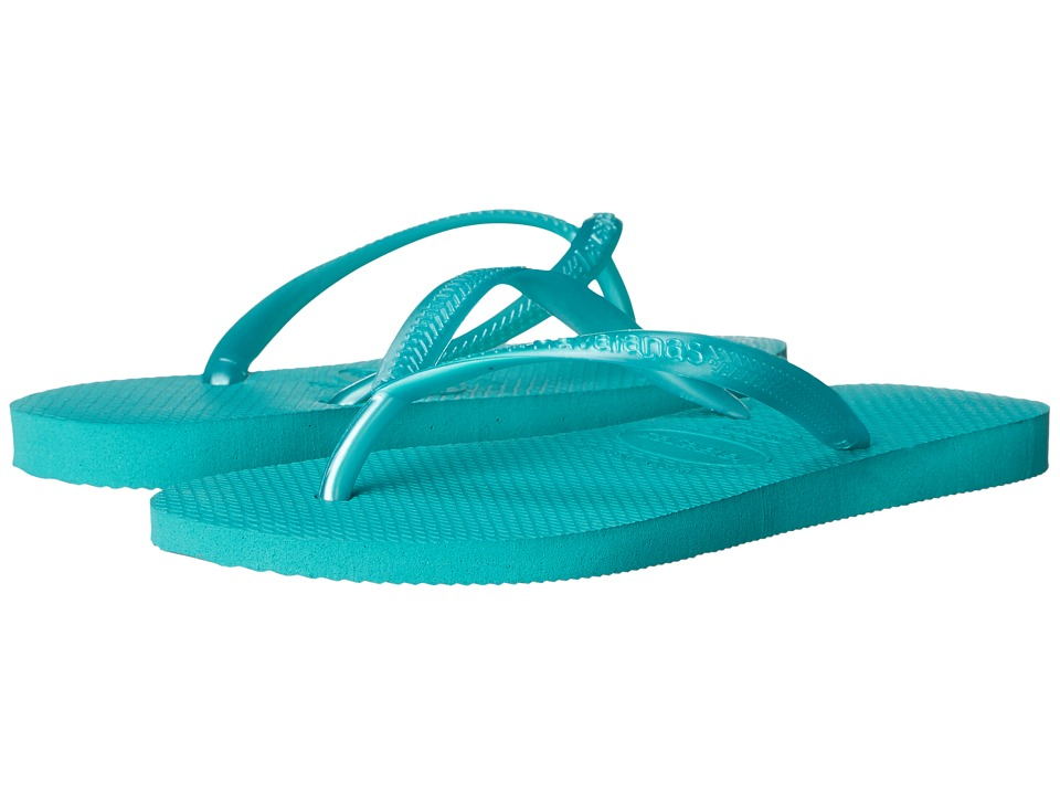 Havaianas Kids - Slim Flip Flops (Toddler/Little Kid/Big Kid) (Lake Green) Girls Shoes