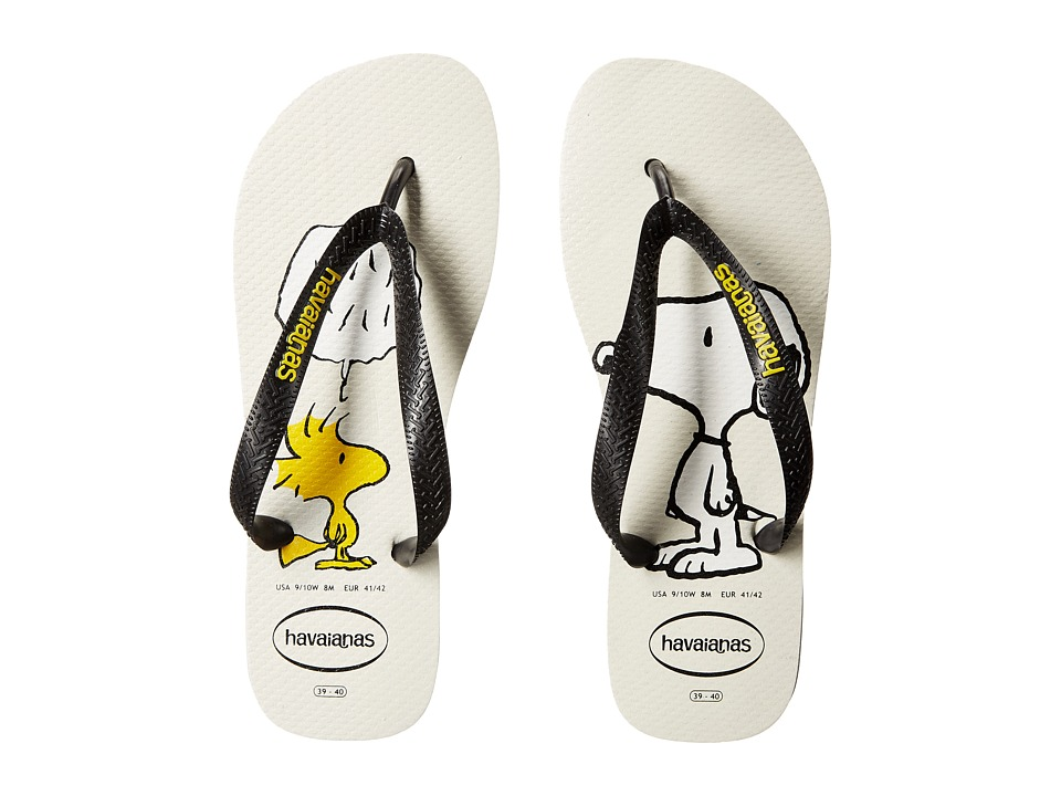 Havaianas - Snoopy Flip Flops (White/Black) Women's Sandals