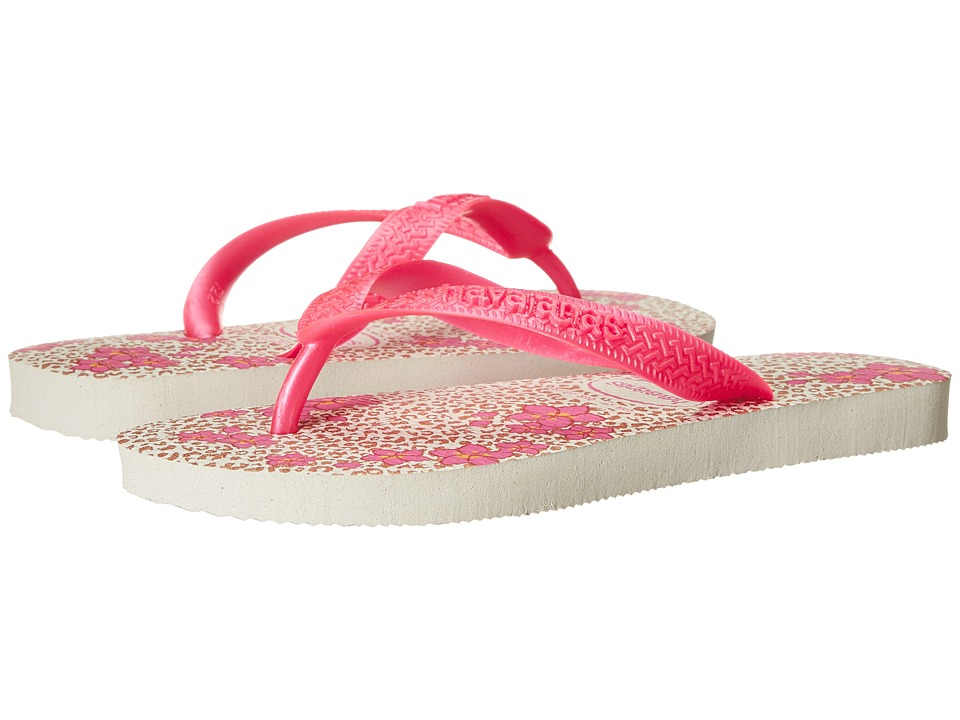 Havaianas Kids - Flores (Toddler/Little Kid/Big Kid) (White/Orchid Rose) Girl's Shoes
