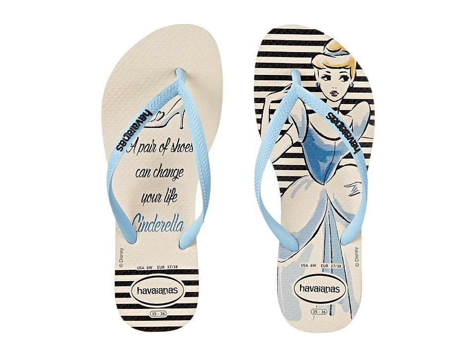 Havaianas Slim Princess Flip Flops (Beige/Lavender Blue) Women
