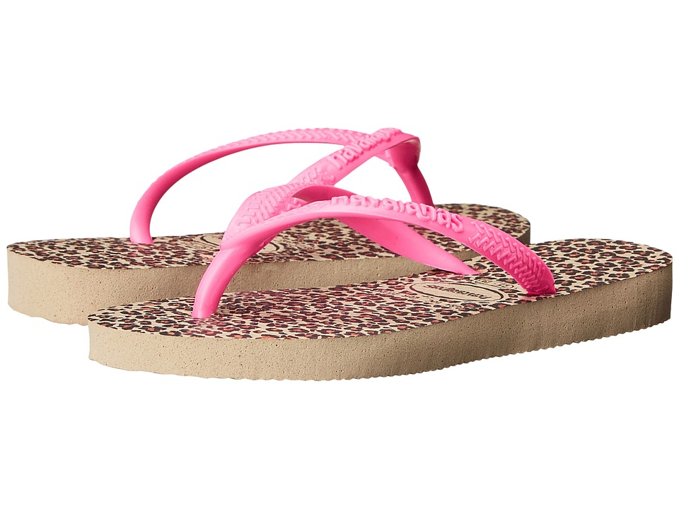 Havaianas Kids - Slim Animals (Toddler/Little Kid/Big Kid) (Sand Grey/Pink) Girls Shoes
