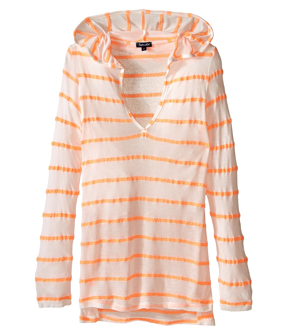 Splendid Littles - Full Bloom Hooded Tunic Cover-Up (Big Kids) (Orange) Girl's Swimwear