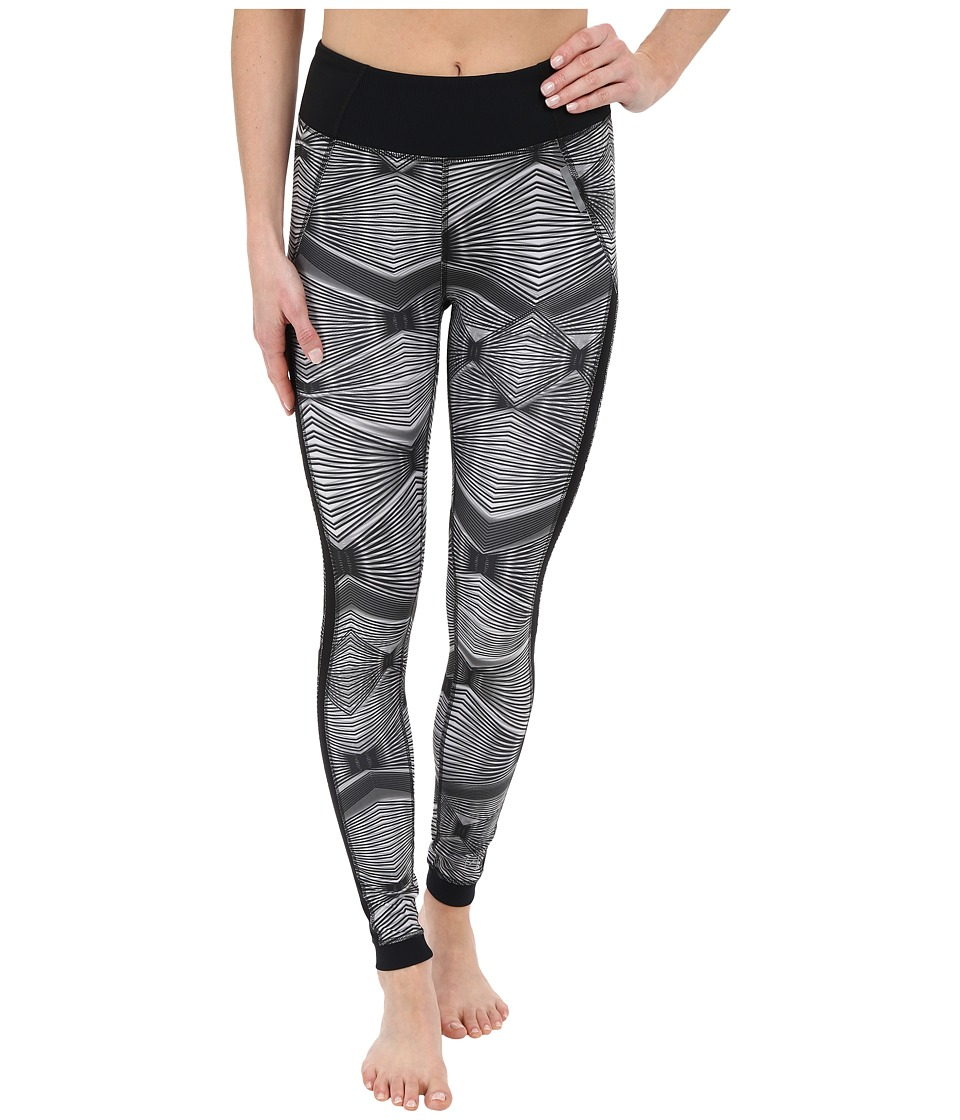 Zobha - Fitted Printed Leggings w/ Mesh Side Panels (Black) Women's Workout