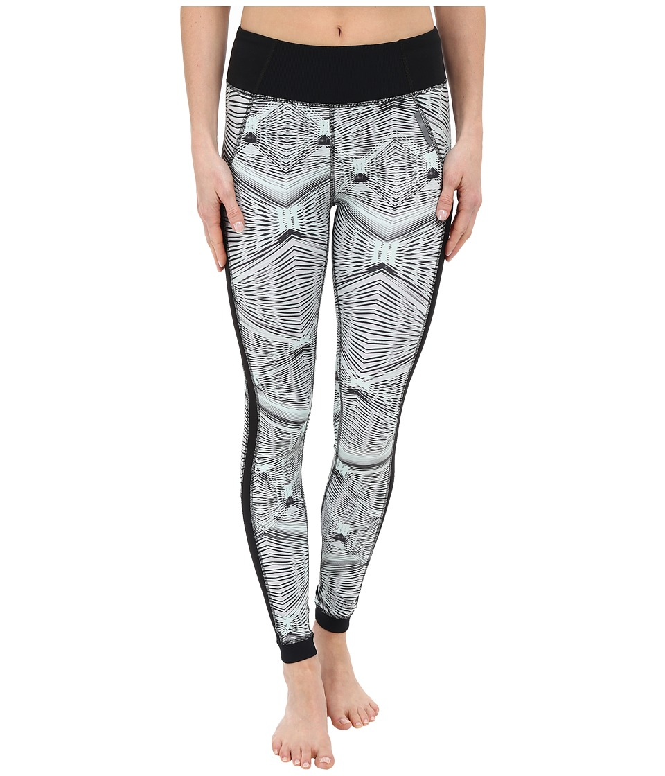 Zobha Fitted Printed Leggings w/ Mesh Side Panels (Opal Blue) Women