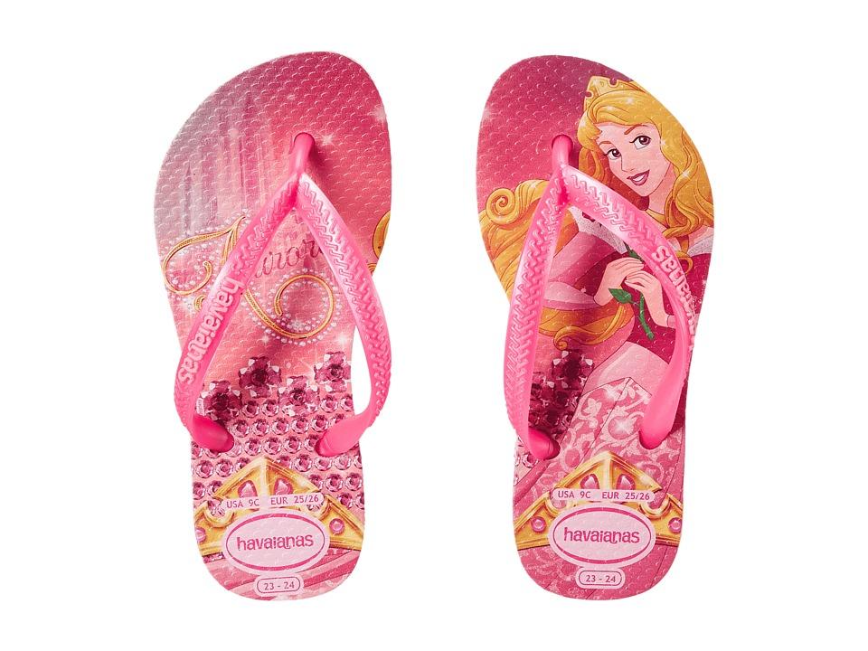 Havaianas Kids - Slim Princess Disney Flip Flops (Toddler/Little Kid/Big Kid) (Crystal Rose/Shocking Pink) Girl's Shoes