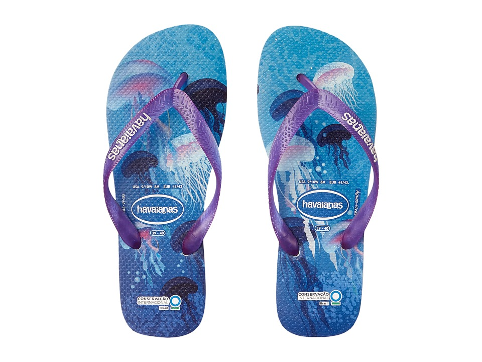 Havaianas - Conservation International Flip Flops (White/Purple/Blue) Women's Sandals