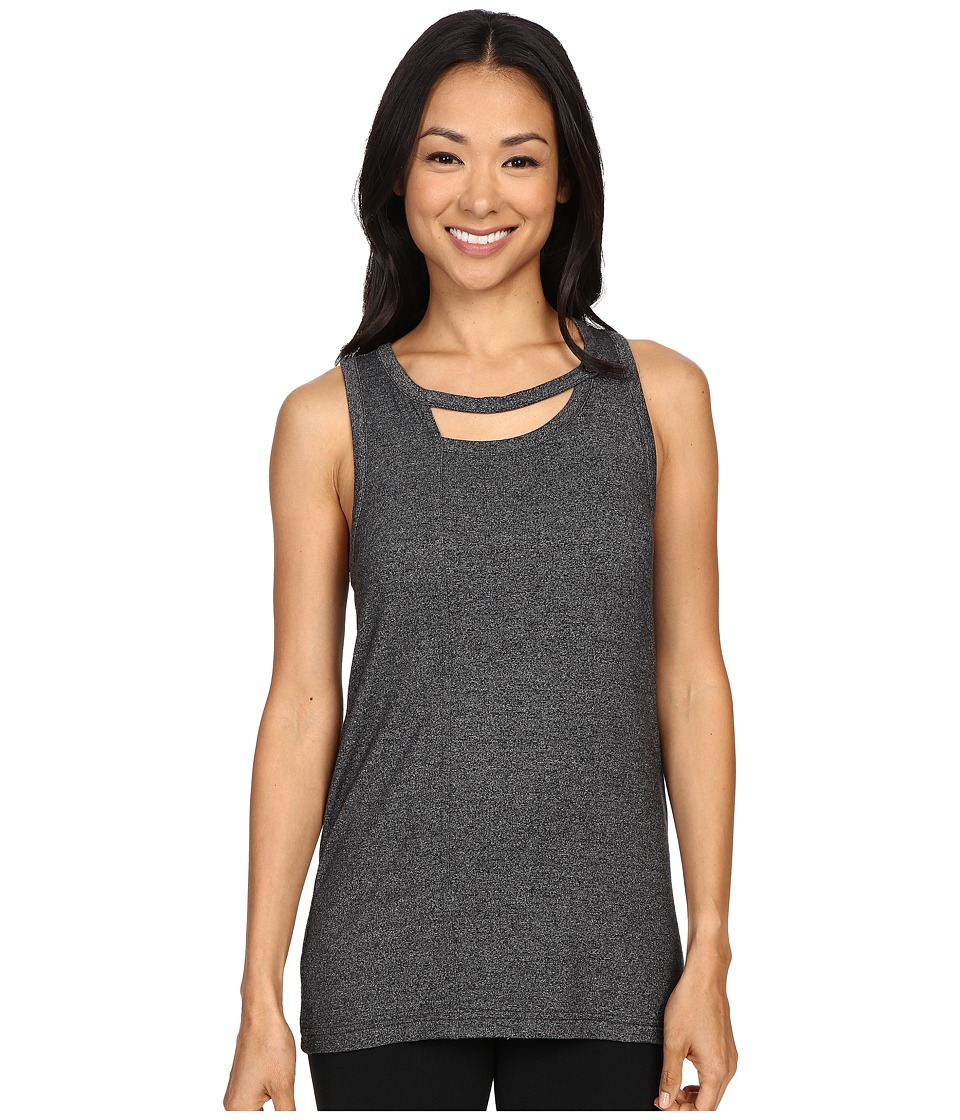 Zobha - Tank Top w/ Back Trim Detail and Double Neckline (Heather Black) Women's Workout